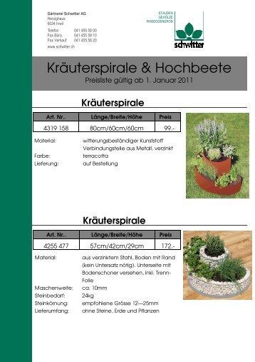 Kräuterspirale & Hochbeete - Gärtnerei Schwitter AG