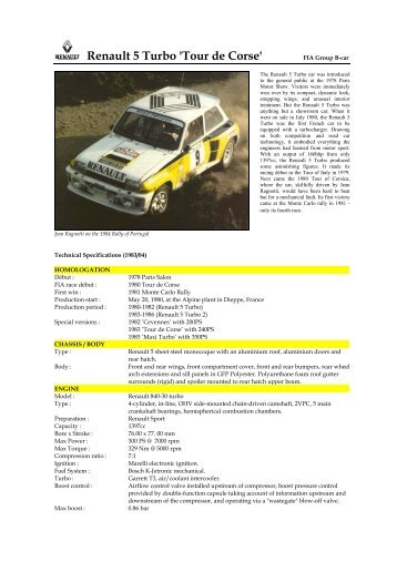 84 Renault 5 Turbo - Motorsports Almanac
