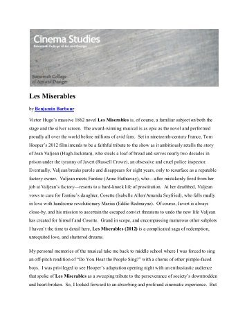 les miserables musical analysis