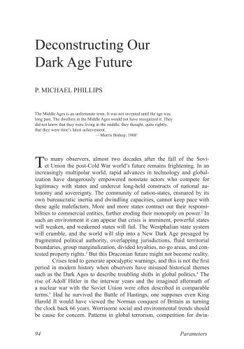 Deconstructing Our Dark Age Future - US Army War College