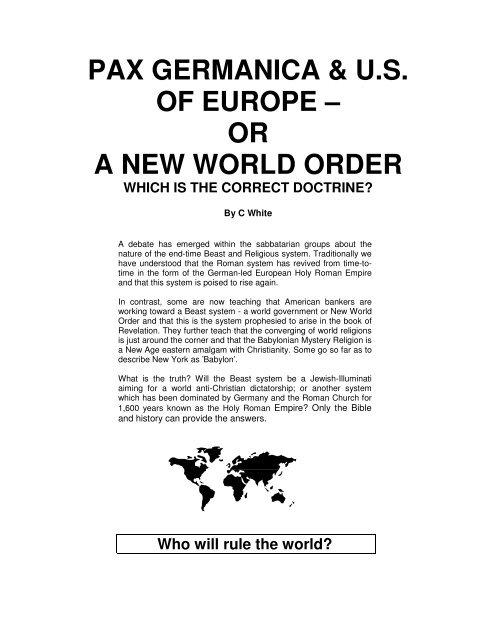 PAX GERMANICA & U S  OF EUROPE – OR A     - Origin of Nations