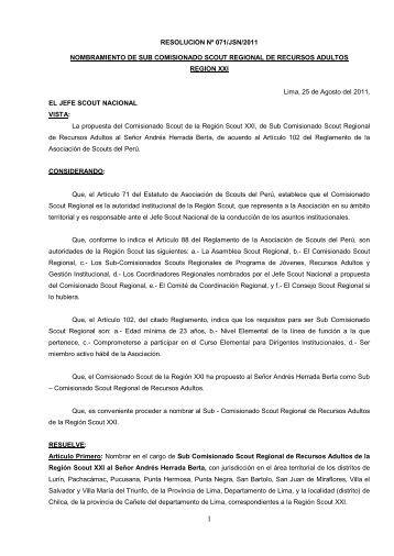 Res 071 JSN 2011 - Scouts del Perú