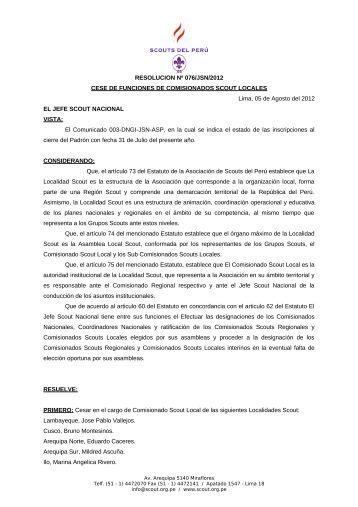 RESOLUCION Nº 076/JSN/2012 CESE DE ... - Scouts del Perú