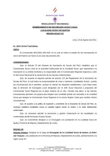 RESOLUCION Nº 091/JSN/2012 ... - Scouts del Perú