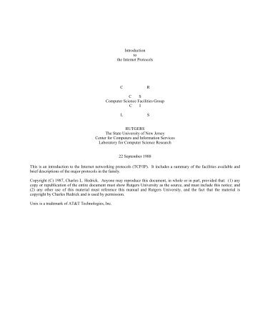 TCP/IP Intro - The Division of Computer Science - Rutgers, The State ...