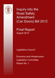 Inquiry into the Road Safety Amendment (Car Doors) Bill 2012 Final ...