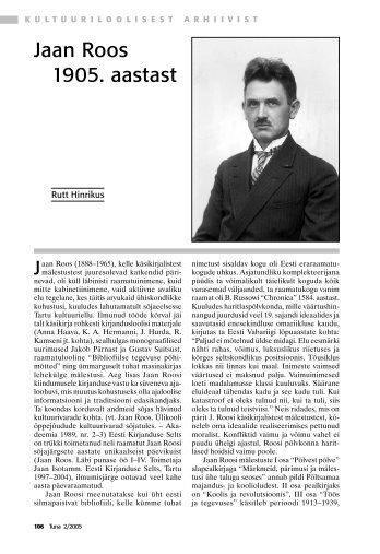 Jaan Roos 1905. aastast - Rahvusarhiiv