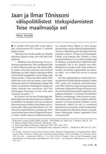 Jaan ja Ilmar Tõnissoni välispoliitilistest ... - Rahvusarhiiv
