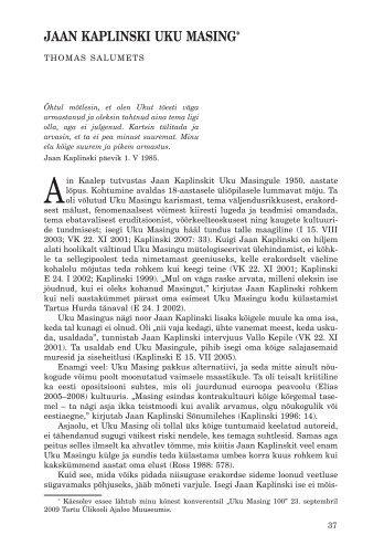Jaan KaplinsKi UKU Masing* - Keel ja Kirjandus