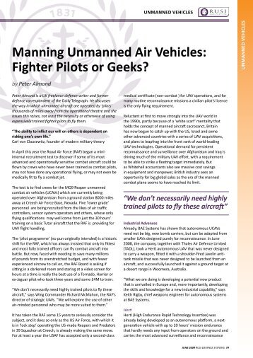 Manning Unmanned Air Vehicles: Fighter Pilots or Geeks? - RUSI