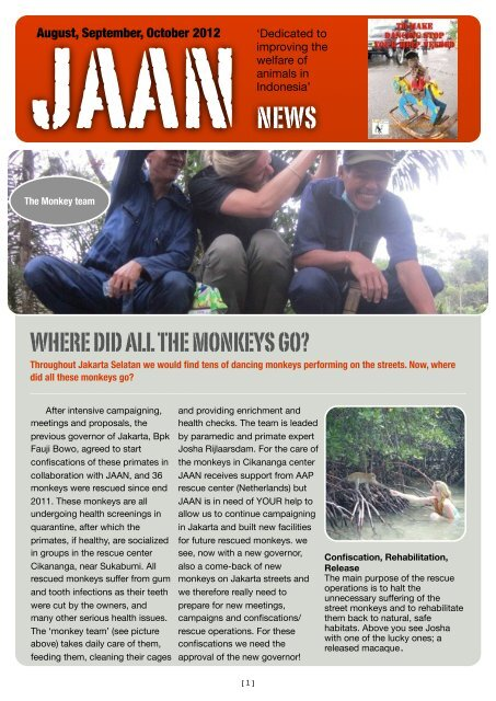 news letter JAAN november 2012 - Jakarta Animal Aid Network