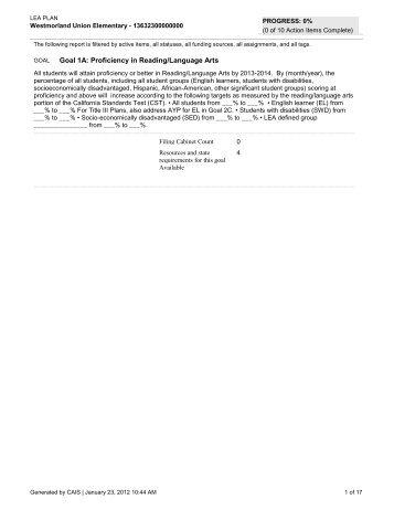 Title III Plan: 2011-2012 - Westmorland Union Elementary School ...