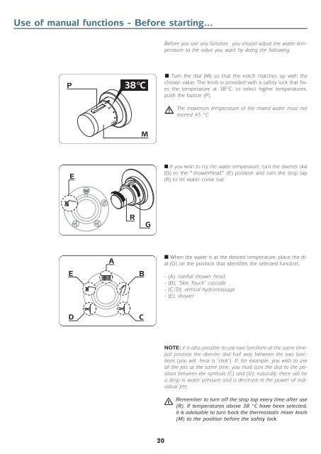 Use of electronic functions - Jacuzzi - Jacuzzi Europe S.p.A.