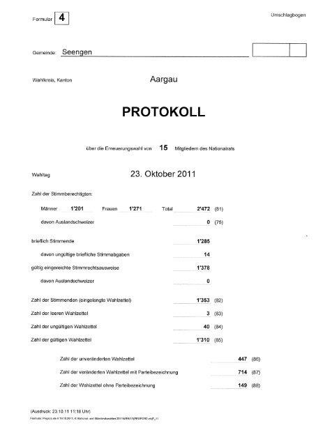 Ergebnisse Nationalratswahlen Seengen