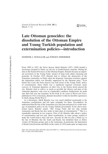 Late Ottoman genocides: the dissolution of the Ottoman Empire and ...