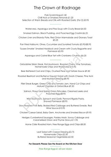 Our Menu - The Crown at Radnage