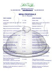 MENU PROPOSALS - Seiler au Lac