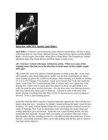 Interview with NYC bassist, Jack Daley: