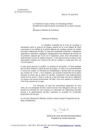 Lettre adressée au Ministre de la Défense par - atdm34.net