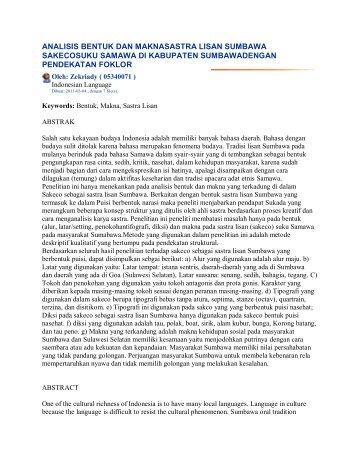 analisis bentuk dan maknasastra lisan sumbawa sakecosuku ...