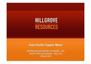 Hillgrove Resources Limited - Australian Stock Exchange