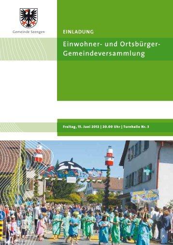 Einwohner- und Ortsbürger- Gemeindeversammlung - Seengen