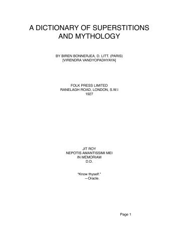 A DICTIONARY OF SUPERSTITIONS AND MYTHOLOGY