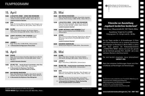 """Filmreihe zur Ausstellung """"tagebuch borderline ... - selinsstiftung.ch"""