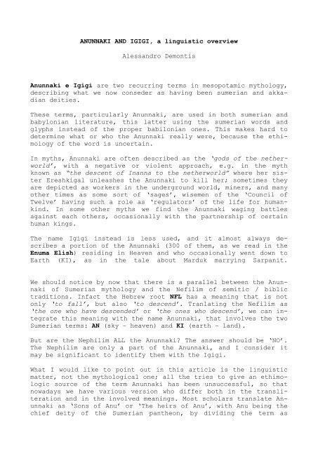 ANUNNAKI AND IGIGI, a linguistic overview