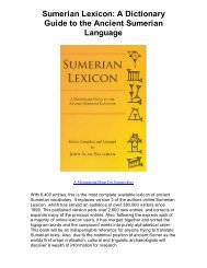 Download Sumerian Lexicon A Dictionary Guide to the - Great ...