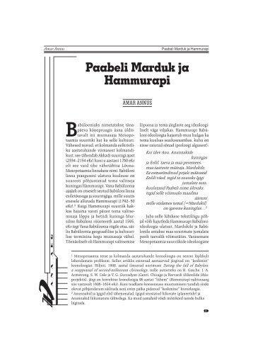 Amar Annus Paabeli Marduk ja Hammurapi - Rahvusarhiiv