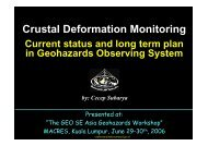 Crustal Deformation Monitoring Current status ... - IGOS Geohazards