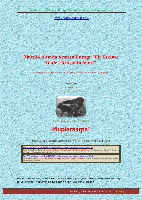 Bir Eskimo Dilinde Turkcenin Izleri Kmoksy