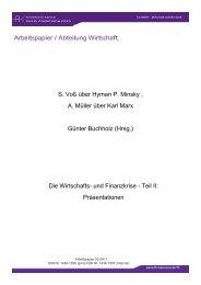 Arbeitspapier / Abteilung Wirtschaft S. Voß über Hyman P. Minsky , A ...
