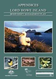 Lord Howe Island Biodiversity management plan - appendices (PDF