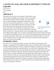 a study of alka-seltzer in different types of liquids abstract introduction