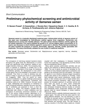 review phytochemical screening and extraction Fuw trends in science & technology journal (a peer review journal) cold and soxhlet extraction the phytochemical screening revealed the presence of alkaloids.