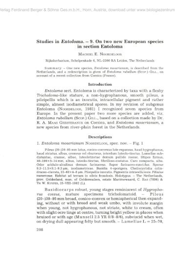 Studies in Entoloma. — 9. On two new European species in section ...