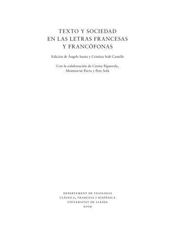 texto y sociedad en las letras francesas y francófonas