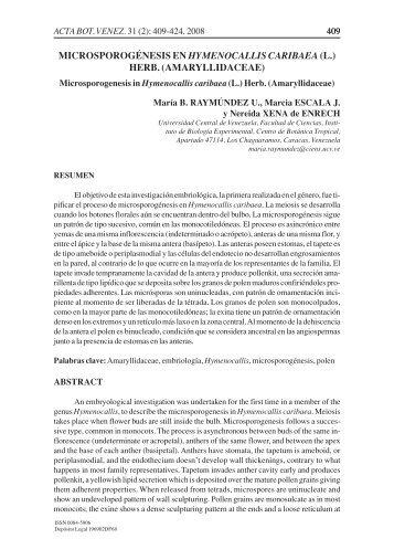 microsporogénesis en hymenocallis caribaea (l.) - SciELO