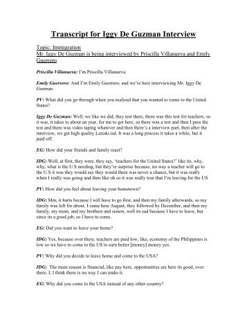 Transcript for Iggy De Guzman Interview