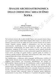 Analisi Archeoastronomica delle Chiese nell'Area di ... - Terra Orobica