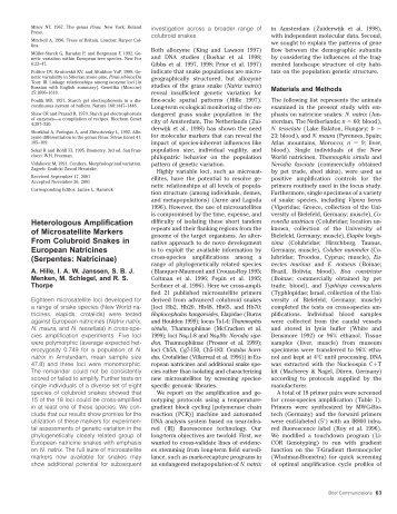 Heterologous Amplification of Microsatellite ... - Bangor University