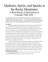 Mediums, Spirits, and Spooks in the Rocky Mountains - Center of the ...