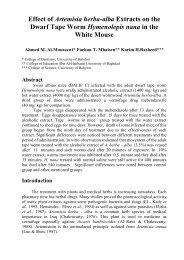 Effect of Artemisia herba-alba Extracts on the Dwarf Tape Worm ...