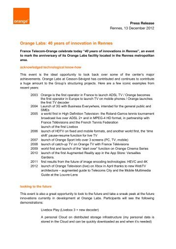 Orange Labs: 40 years of innovation in Rennes - Orange.com
