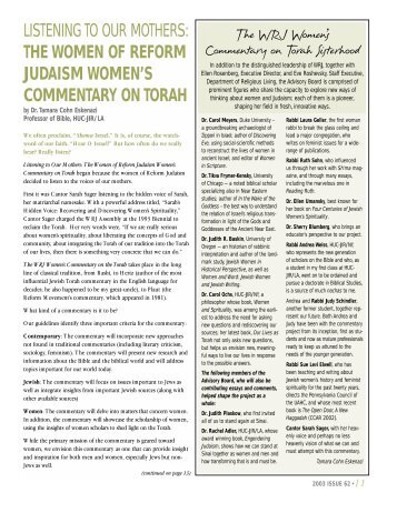 On Listening to Our Mothers: The Women of Reform Judaism ...