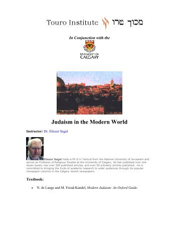 Judaism in the Modern World - Touro Institute