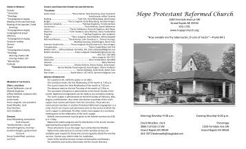 Hope Protestant Reformed Church - Protestant Reformed Churches ...