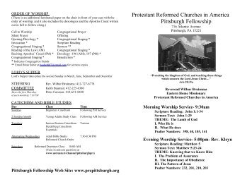 Church bulletin - Protestant Reformed Churches in America